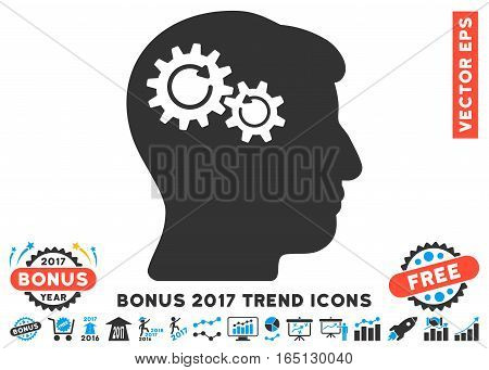 Blue And Gray Head Wheels Rotation pictograph with bonus 2017 year trend pictures. Vector illustration style is flat iconic bicolor symbols white background.