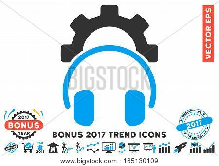 Blue And Gray Headphones Configuration Gear icon with bonus 2017 year trend pictograph collection. Vector illustration style is flat iconic bicolor symbols white background.