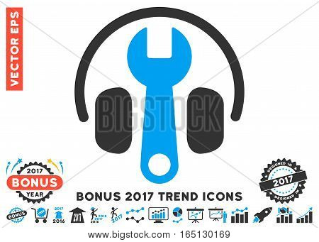 Blue And Gray Headphones Tuning Wrench pictogram with bonus 2017 trend pictograph collection. Vector illustration style is flat iconic bicolor symbols white background.