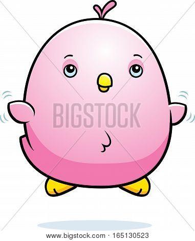 Cartoon Baby Pink Parakeet Fly