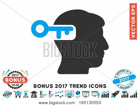 Blue And Gray Intellect Key icon with bonus 2017 trend pictures. Vector illustration style is flat iconic bicolor symbols white background.