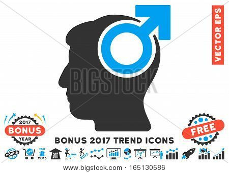 Blue And Gray Intellect Potency icon with bonus 2017 trend pictures. Vector illustration style is flat iconic bicolor symbols white background.