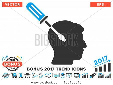 Blue And Gray Intellect Screwdriver Tuning icon with bonus 2017 trend clip art. Vector illustration style is flat iconic bicolor symbols white background.