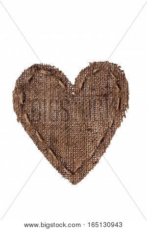Vintage heart with linen thread. Isolated on white background