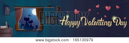 Valentine Day Gift Card Holiday Cat Couple Sitting On Window Sill In Moon Light Flat Vector Illustration