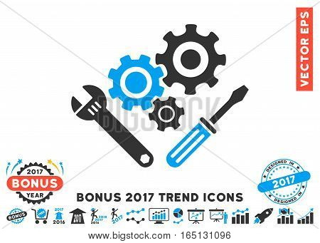 Blue And Gray Mechanics Tools pictogram with bonus 2017 trend design elements. Vector illustration style is flat iconic bicolor symbols white background.