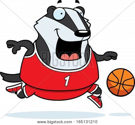 Cartoon Badger Basketball