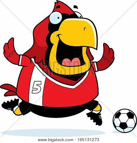 Cartoon Cardinal Soccer