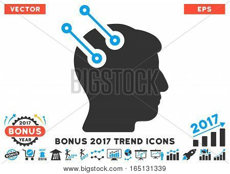 Blue And Gray Neural Interface Connectors icon with bonus 2017 trend symbols. Vector illustration style is flat iconic bicolor symbols white background.