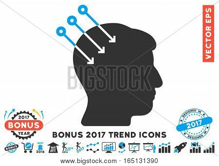 Blue And Gray Neural Interface Connectors icon with bonus 2017 year trend icon set. Vector illustration style is flat iconic bicolor symbols white background.