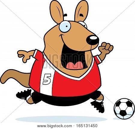 Cartoon Wallaby Soccer