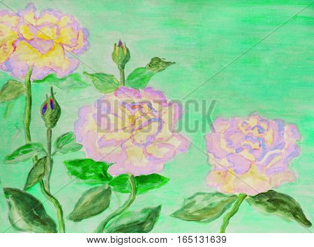 Hand painted picture, watercolors - three roses of pink colour.