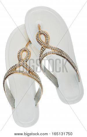 White flip-flops with rhinestones isolated on white background