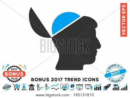 Blue And Gray Open Brain pictograph with bonus 2017 trend pictures. Vector illustration style is flat iconic bicolor symbols white background.