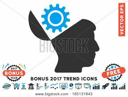Blue And Gray Open Head Gear pictogram with bonus 2017 year trend icon set. Vector illustration style is flat iconic bicolor symbols white background.