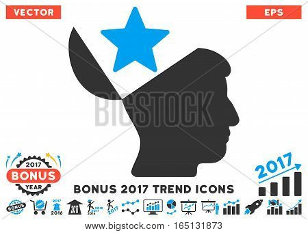 Blue And Gray Open Head Star pictogram with bonus 2017 year trend clip art. Vector illustration style is flat iconic bicolor symbols white background.
