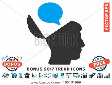 Blue And Gray Open Mind Opinion icon with bonus 2017 trend design elements. Vector illustration style is flat iconic bicolor symbols white background.