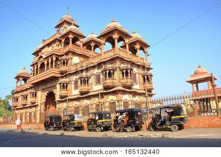 GONDAL, GUJARAT, INDIA - DECEMBER 23, 2013: The entrance of Swaminarayan temple