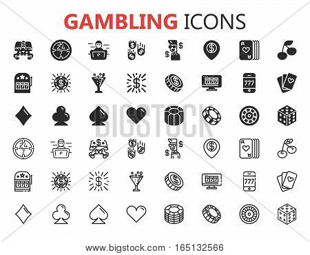 Gambling icons set. Card and casino, poker game, dice and ace. Vector illustration eps 10