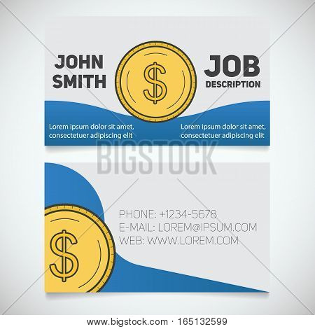 Business card print template with dollar coin logo. Easy edit. Accountant. Financier. Bank worker. Stationery design concept. Vector illustration