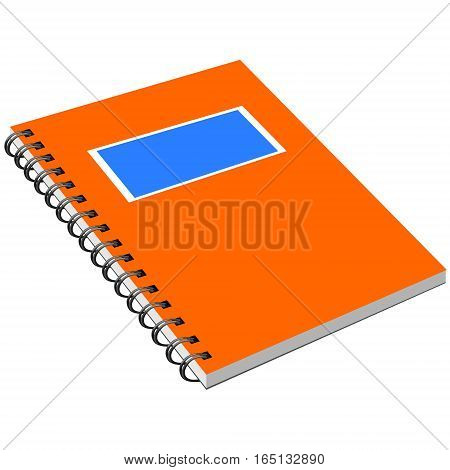 Notebook with metal spiral. Isolated notebook with metal spiral