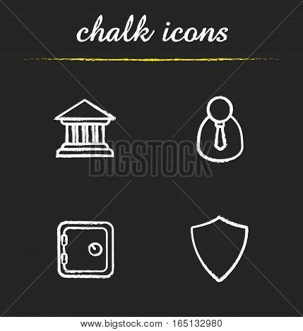 Banking chalk icons set. Bank building, manager, safe deposit box and shield. Financial security. Isolated vector chalkboard illustrations