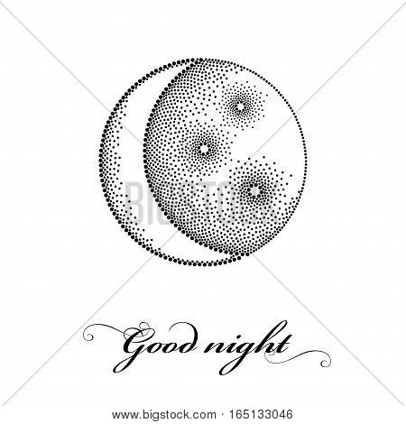 Vector illustration with dotted stylized half moon with star in black isolated on white background. Astronomy symbols in dotwork or pointillism style. Design for Good night with crescent and stars.