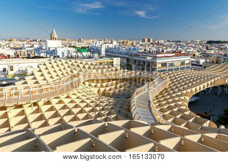 Seville, Spain - October 31, 2016: The design of the German architect Jurgen Mayer in the Plaza de la Encarnacion in the center of old Seville. It is one of the best tourist observation platforms.