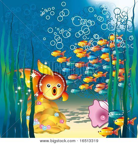 Raster Underwater world  (Vector version 24858028) poster