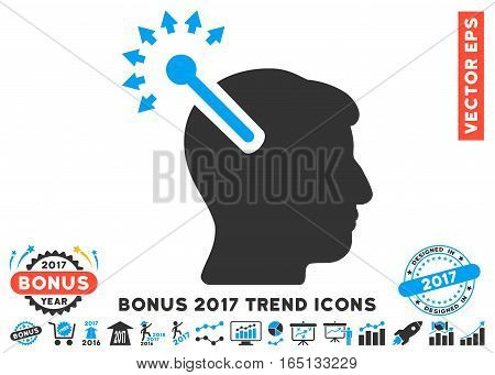Blue And Gray Optical Neural Interface pictogram with bonus 2017 trend pictograms. Vector illustration style is flat iconic bicolor symbols white background.