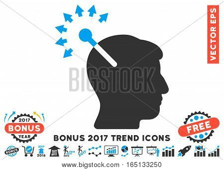 Blue And Gray Optical Neural Interface icon with bonus 2017 trend design elements. Vector illustration style is flat iconic bicolor symbols white background.