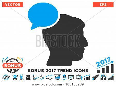 Blue And Gray Person Idea icon with bonus 2017 trend icon set. Vector illustration style is flat iconic bicolor symbols white background.