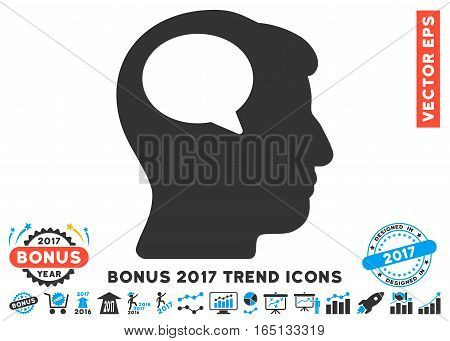 Blue And Gray Person Thinking pictograph with bonus 2017 year trend design elements. Vector illustration style is flat iconic bicolor symbols white background.