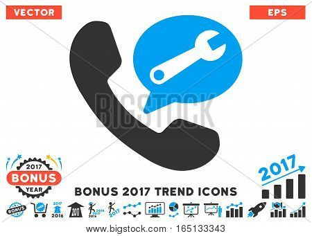 Blue And Gray Phone Service Message pictogram with bonus 2017 year trend clip art. Vector illustration style is flat iconic bicolor symbols white background.