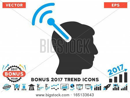 Blue And Gray Radio Neural Interface pictograph with bonus 2017 year trend symbols. Vector illustration style is flat iconic bicolor symbols white background.