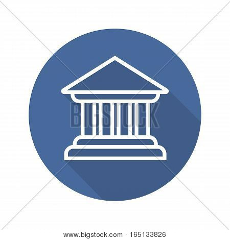 Bank building flat linear long shadow icon. Courthouse. Vector line symbol