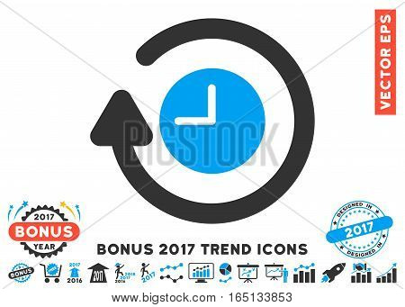 Blue And Gray Repeat Clock pictogram with bonus 2017 year trend elements. Vector illustration style is flat iconic bicolor symbols white background.