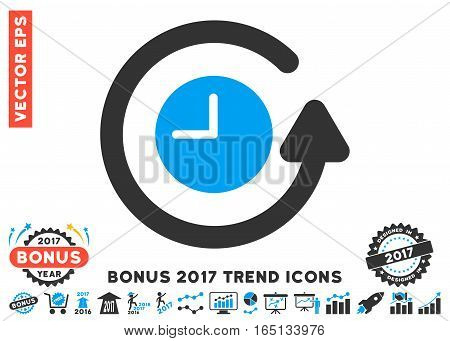 Blue And Gray Restore Clock pictogram with bonus 2017 trend elements. Vector illustration style is flat iconic bicolor symbols white background.