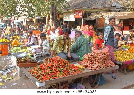 GONDAL, GUJARAT, INDIA - DECEMBER 24, 2013: Welcoming atmosphere in a food market