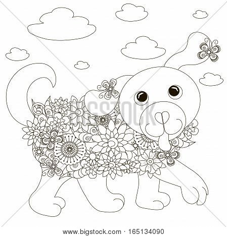 Flowers dog coloring page anti-stress stock vector illustration
