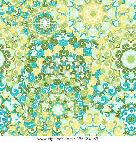 Seamless colorful ethnic pattern with mandalas in oriental style. Round doilies with green, blue and yellow curls and swirls weaving in arabesque traditional lace ornament. Vector illustration.
