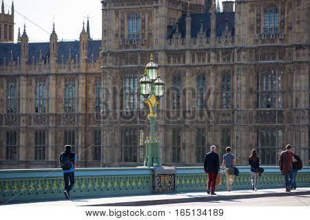LONDON, UK - SEPTEMBER 10, 2015: Houses of Parliament view from the Embankment of River Thames
