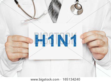 H1N1 Card In Hands Of Medical Doctor