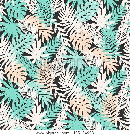 Tropical Leaves seamless pattern. Vector background illustration