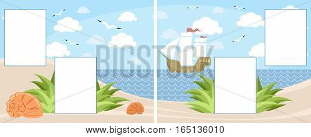 Vector illustration of a children photobook page