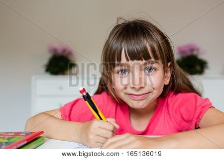 Girl Ready To Do Her Homework