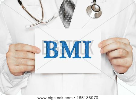 Doctor Holding A Card With Bmi, Medical Concept