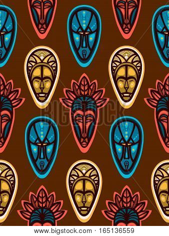 African ritual masks. Seamless pattern with faces. Vector illustration.