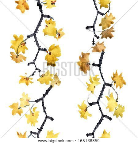 Watercolor and ink illustration of tree branches with yellow leaves. Sumi-e u-sin painting. Seamless pattern.