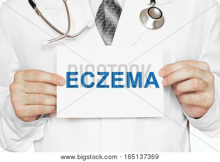Doctor Holding A Card With Eczema, Medical Concept